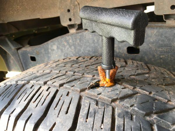 チューブレスタイヤのパンク修理